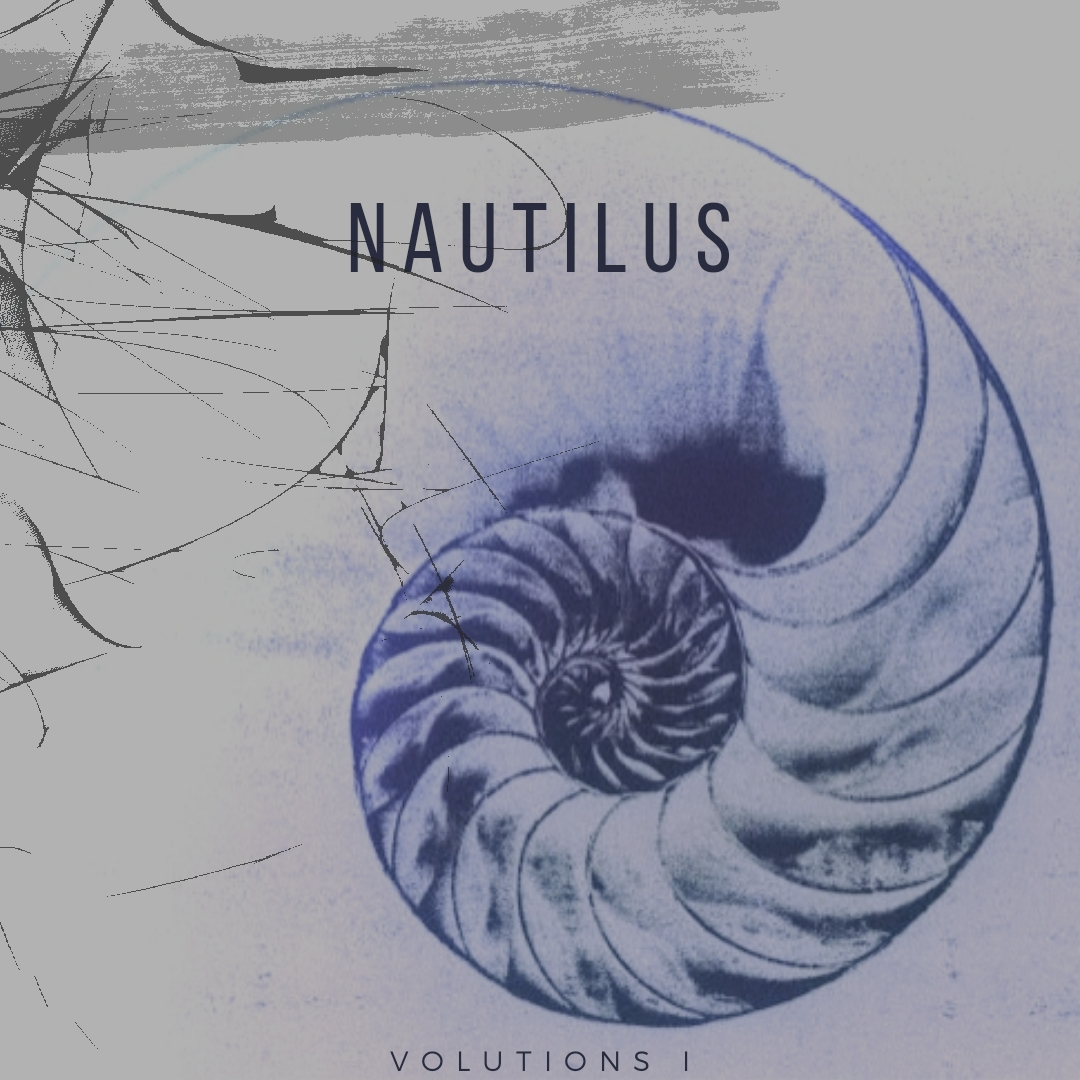 cover of the podfic of nautilus, part 1 of the volutions series by tempus teapot, read by kess. It has a picture of a nautilus shell beneath a cracked screen